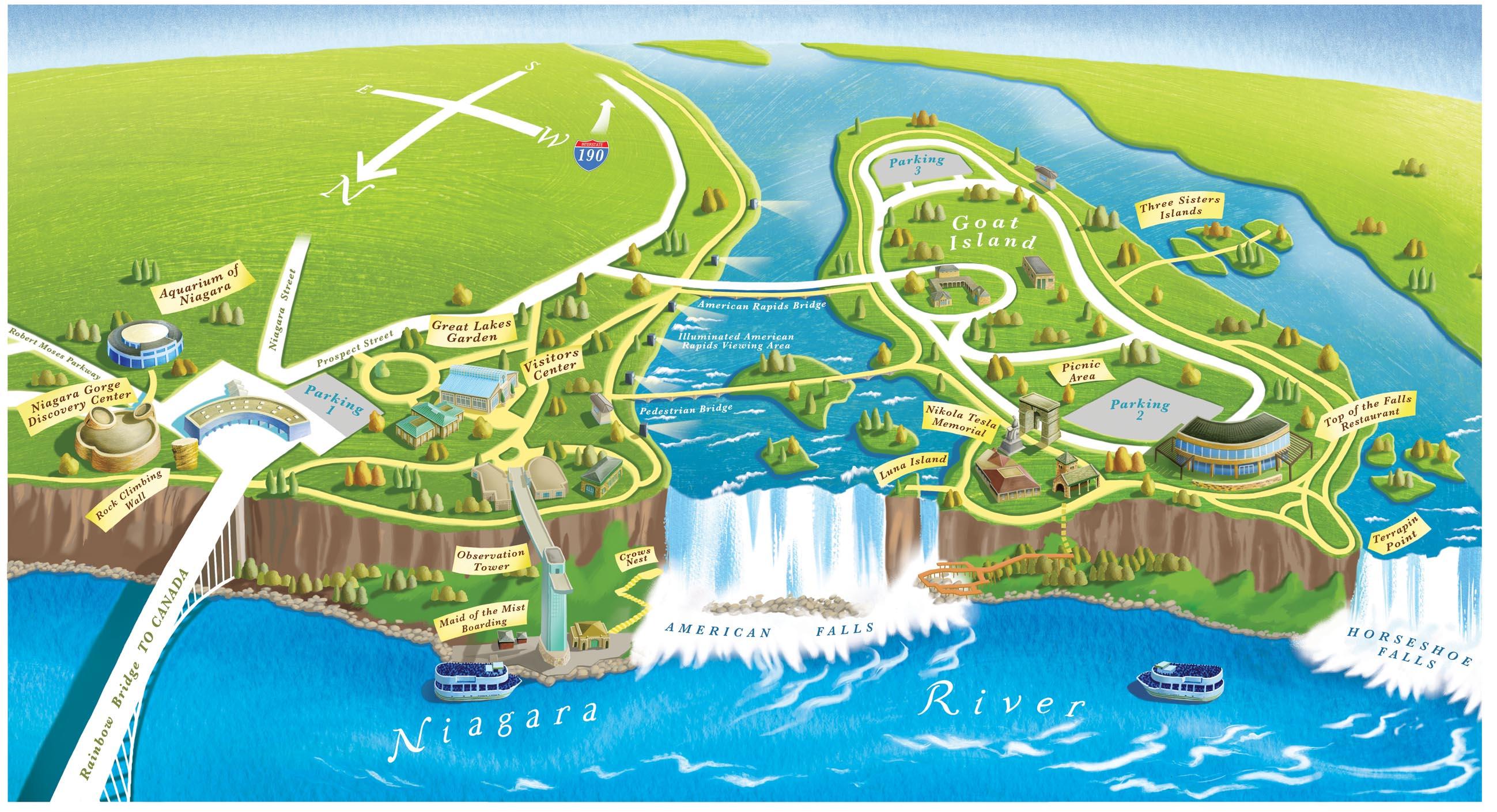 Mapa de las cataratas de Niagara
