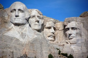 Washington, Jefferson, Roosevelt y Lincoln
